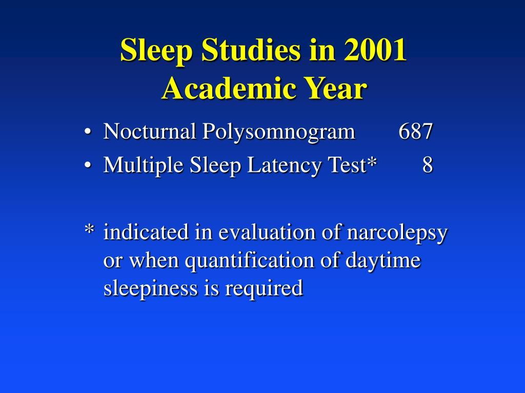 Sleep Studies in 2001 Academic Year