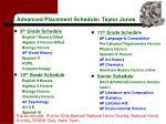 advanced placement schedule taylor jones