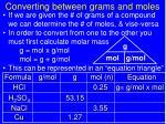 converting between grams and moles