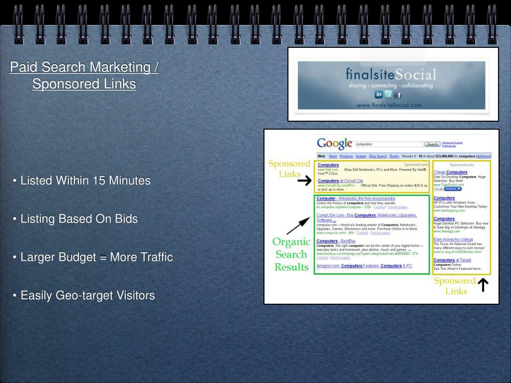 Paid Search Marketing / Sponsored Links