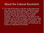 about the cultural revolution