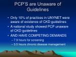 pcp s are unaware of guidelines