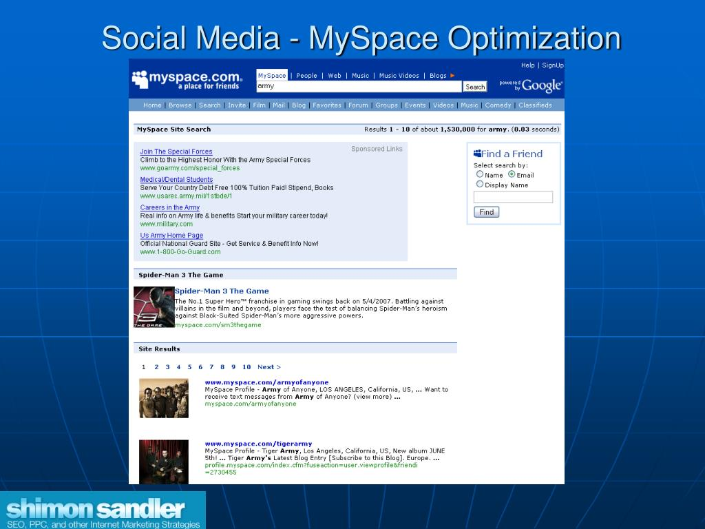 Social Media - MySpace Optimization