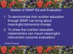 models of snap ed and evaluation