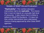 models of snap ed and evaluation54
