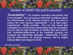 models of snap ed and evaluation55