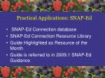 practical applications snap ed