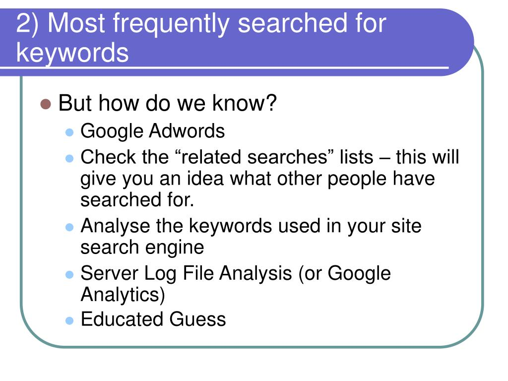 2) Most frequently searched for keywords
