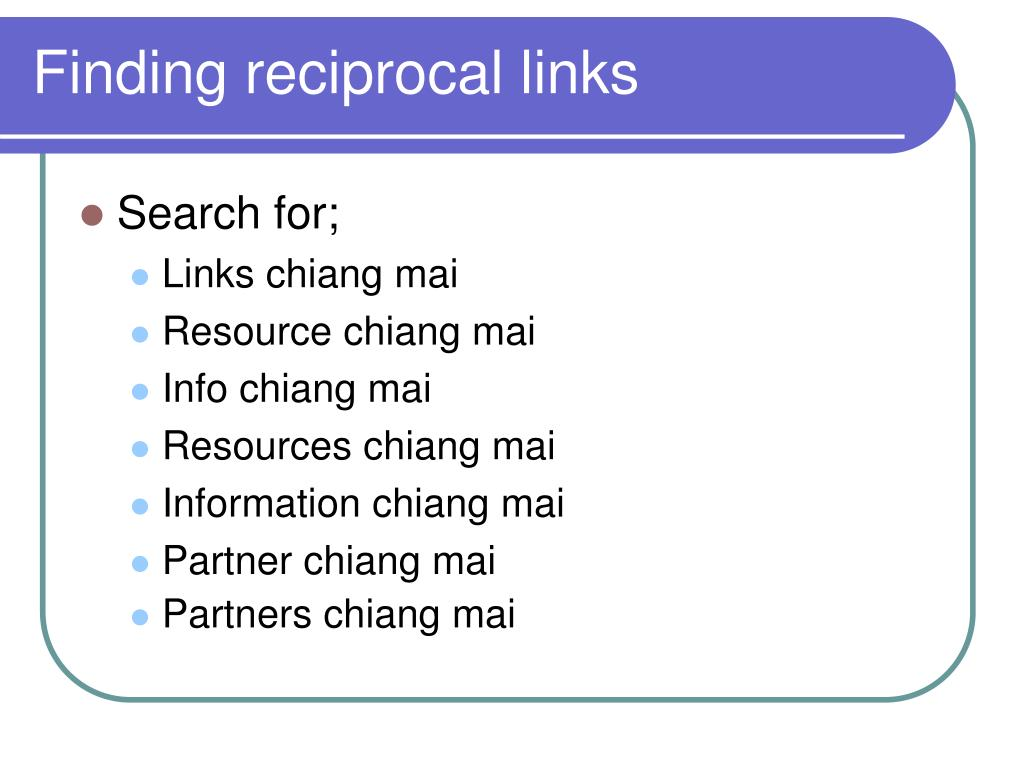 Finding reciprocal links