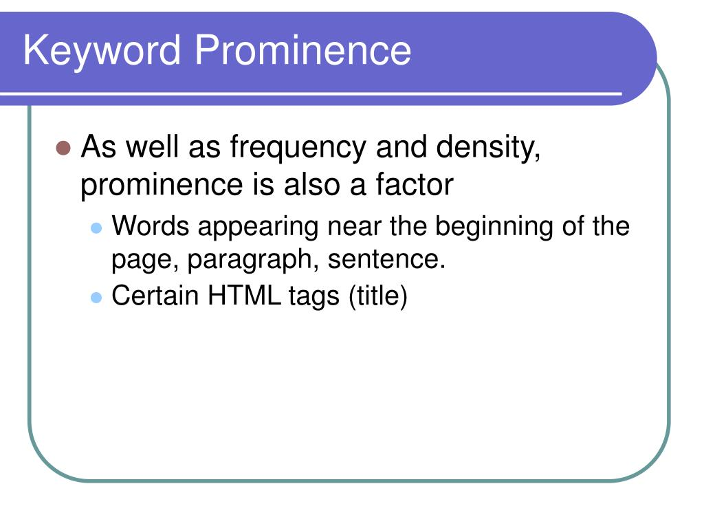 Keyword Prominence