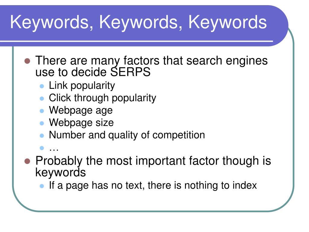 Keywords, Keywords, Keywords