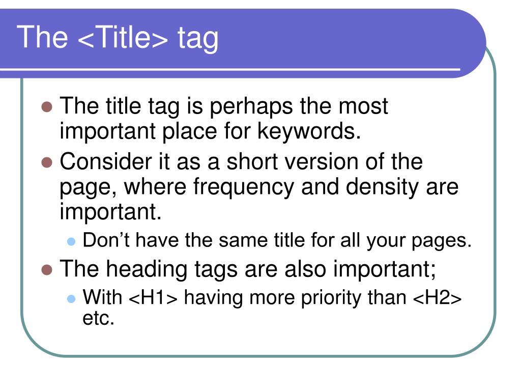 The <Title> tag