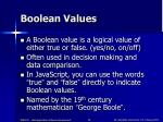 boolean values