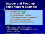 integer and floating point number example