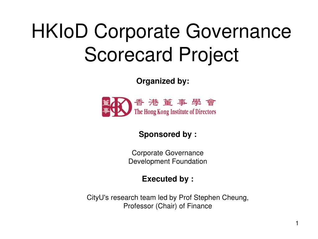 hkiod corporate governance scorecard project l.
