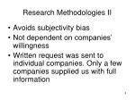 research methodologies ii