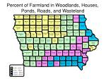 percent of farmland in woodlands houses ponds roads and wasteland