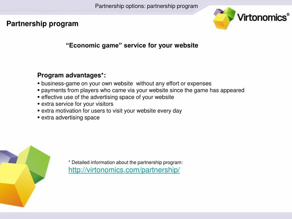 Partnership options: partnership program
