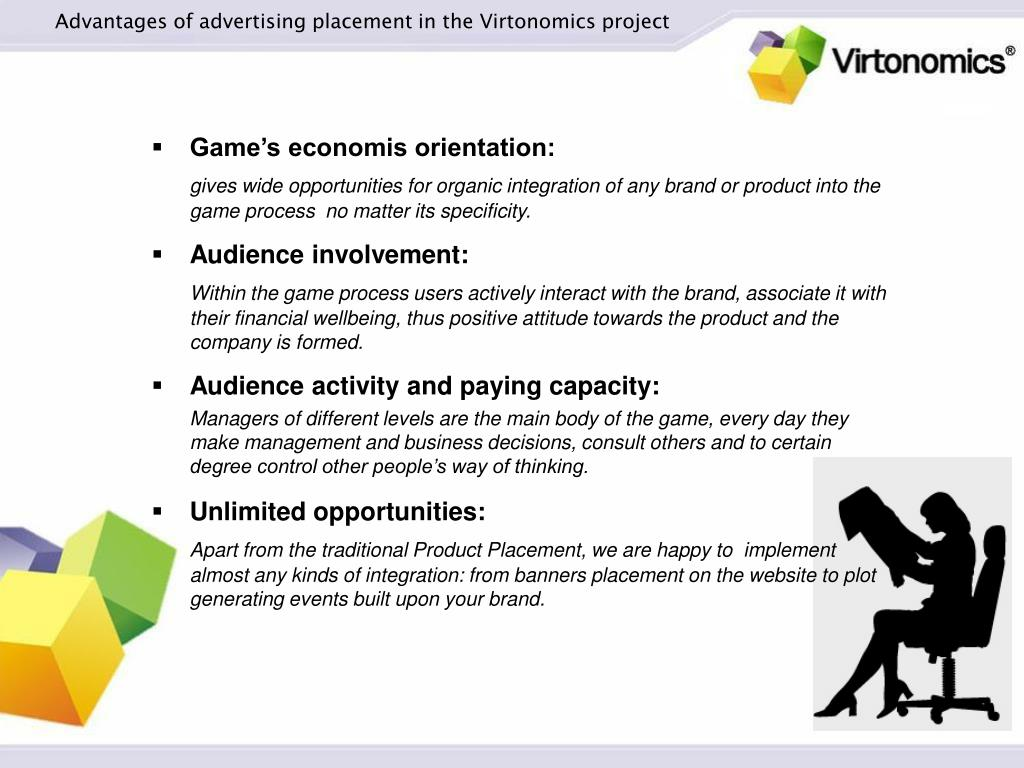 Advantages of advertising placement in the Virtonomics project