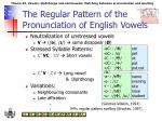 the regular pattern of the pronunciation of english vowels