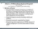 moore v williamsburg regional hospital 4 th cir 2009 cert denied by u s supreme court october 200932