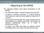 reporting to the npdb