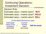continuing operations investment decision