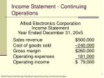 income statement continuing operations