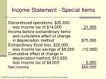 income statement special items