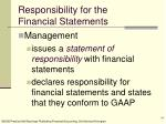 responsibility for the financial statements