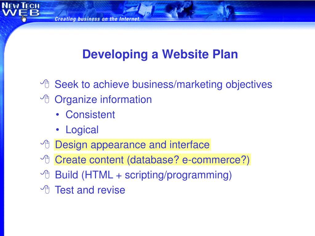 Developing a Website Plan