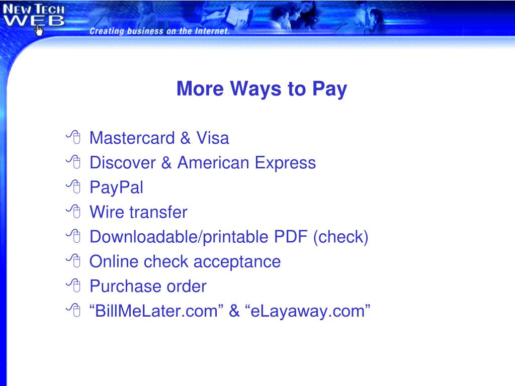 More Ways to Pay