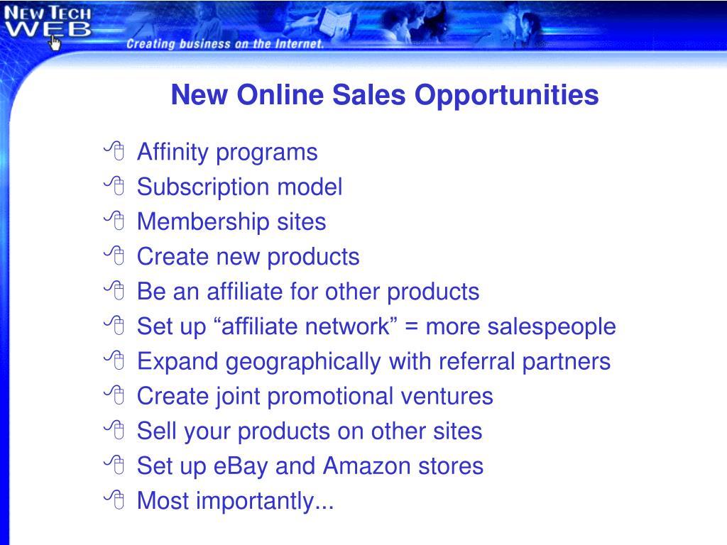 New Online Sales Opportunities