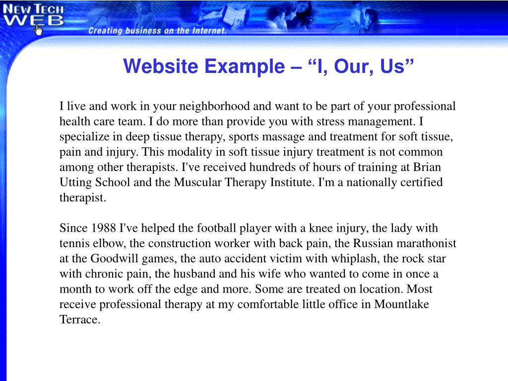 """Website Example – """"I, Our, Us"""""""