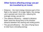 other factors affecting energy use per km travelled by air travel