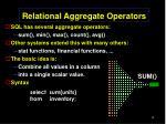 relational aggregate operators