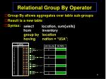 relational group by operator