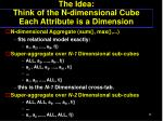 the idea think of the n dimensional cube each attribute is a dimension