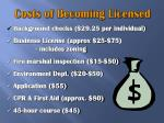 costs of becoming licensed