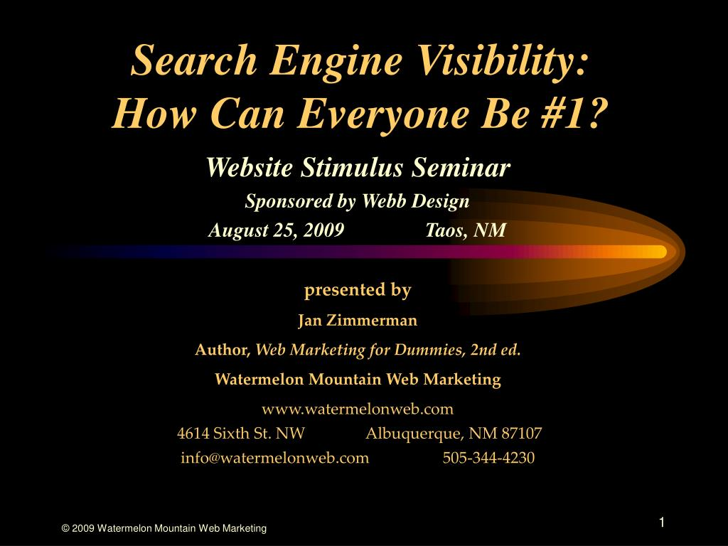 search engine visibility how can everyone be 1 l.