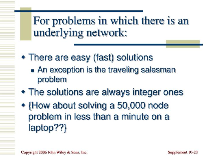 For problems in which there is an underlying network: