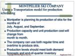 montpelier ski company using a transportation model for production scheduling
