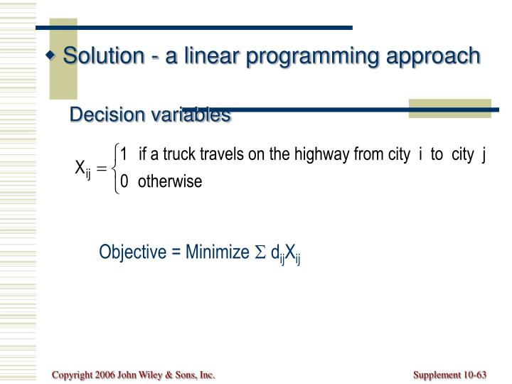 Solution - a linear programming approach