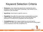 keyword selection criteria
