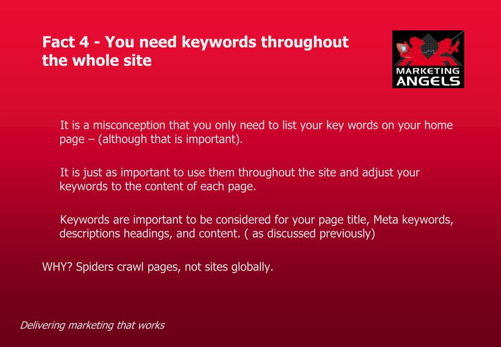 Fact 4 - You need keywords throughout
