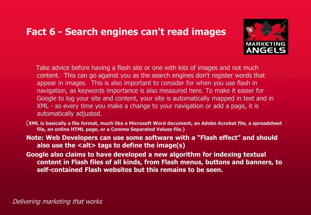 Fact 6 - Search engines can't read images
