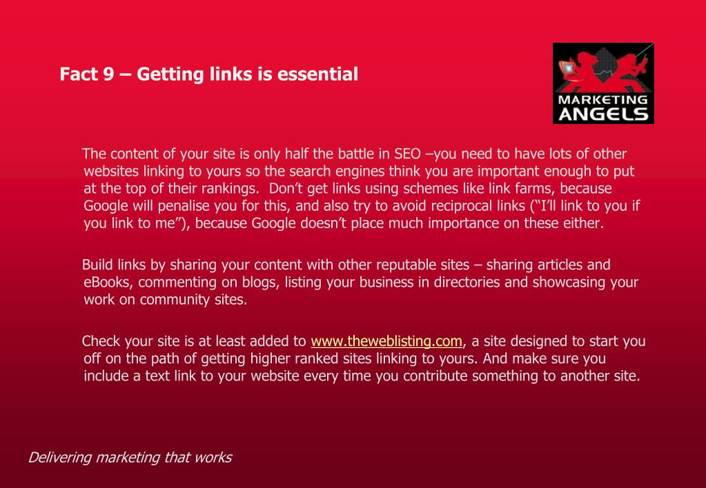 Fact 9 – Getting links is essential