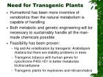 need for transgenic plants
