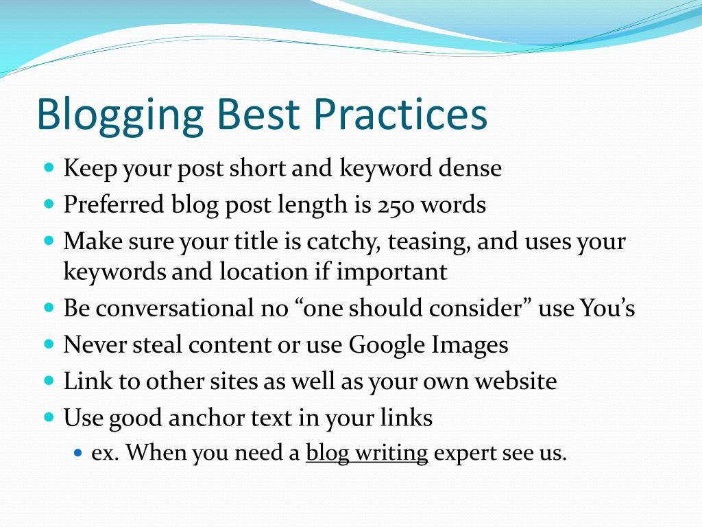 Blogging Best Practices