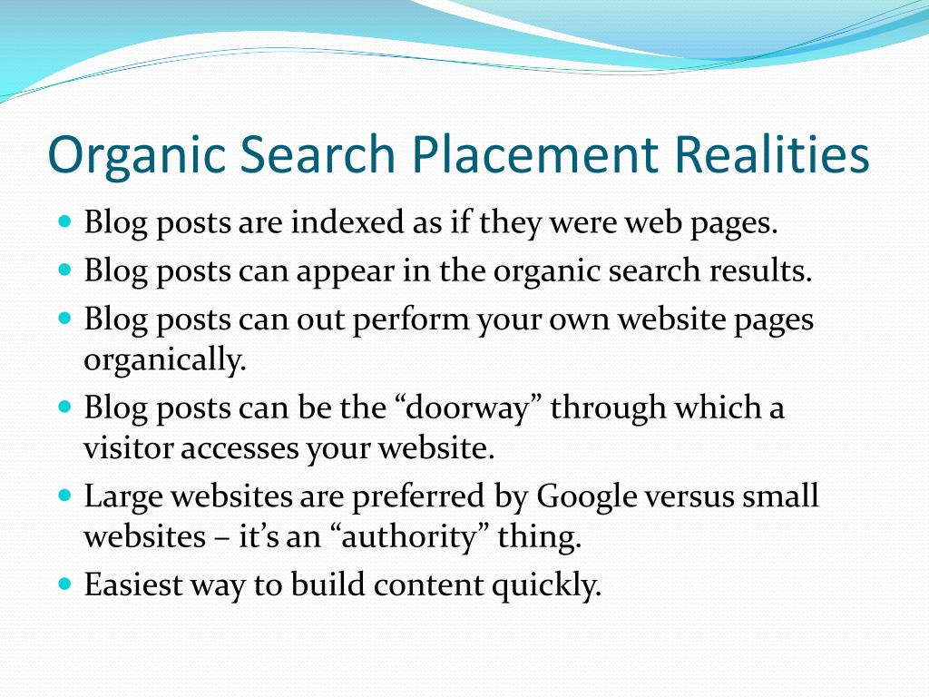 Organic Search Placement Realities